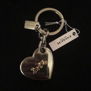 Coach Carriage Heart Key Chain, Silver & Gold, NWT